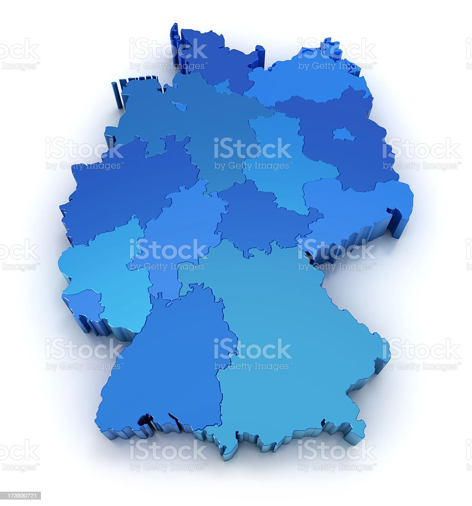 Germany map with states royalty-free stock photo