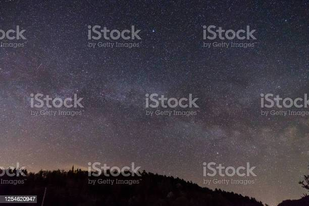 Photo of Germany, Moving star field of milky way galaxy core over swabian alb forest tree silhouette