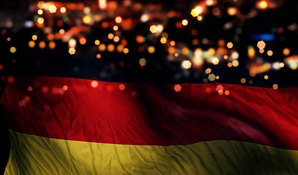allemagne drapeau national de lumière bokeh abstrait fond de nuit - drapeau allemand photos et images de collection