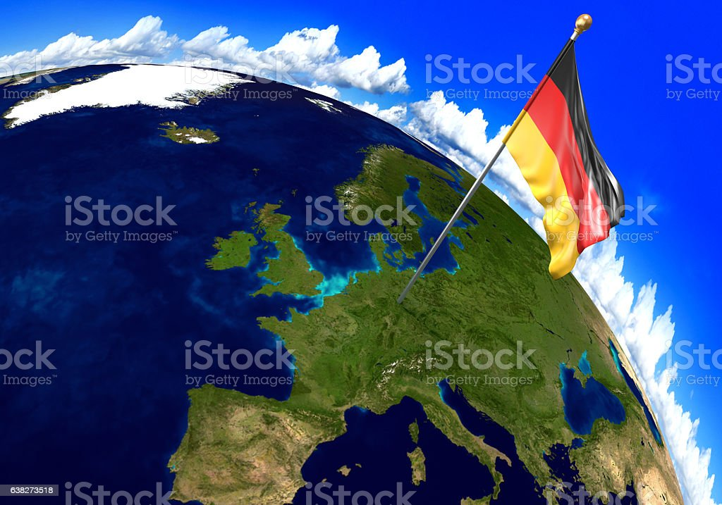 Germany National Flag Marking The Country Location On World ...