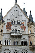Hohenschwangau, Germany - July 29, 2007: The Palasfront in the upper courtyard of Neuschwanstein Castle, a spectacular example of 19th Century Romanesque Revivalism.