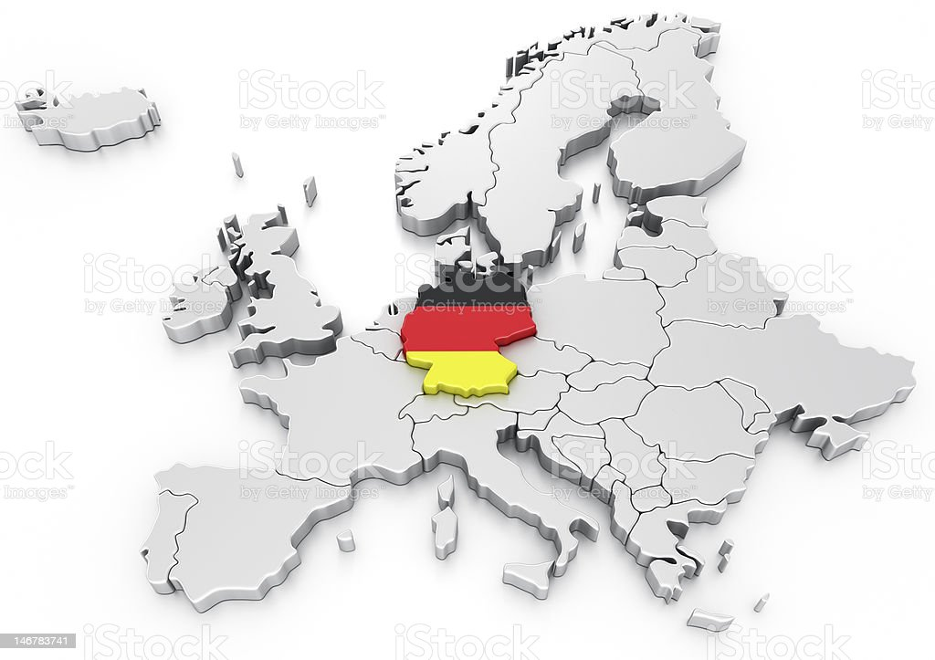 Germany on a Euro map royalty-free stock photo