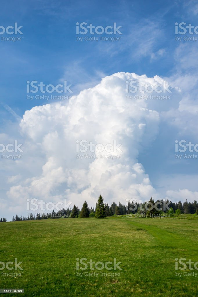 Germany, Remote black forest landscape and thunderstorm cloud