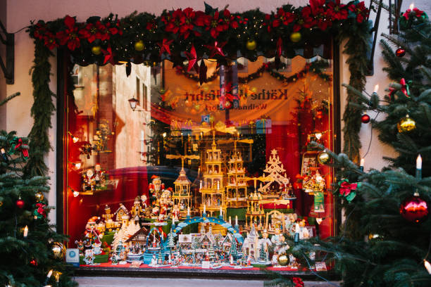 Germany, Rothenburg ob der Tauber, December 30, 2017: Storefront. Kathe Wohlfahrt Christmas decorations and toy shop. A popular toy store in Germany. Europe. stock photo