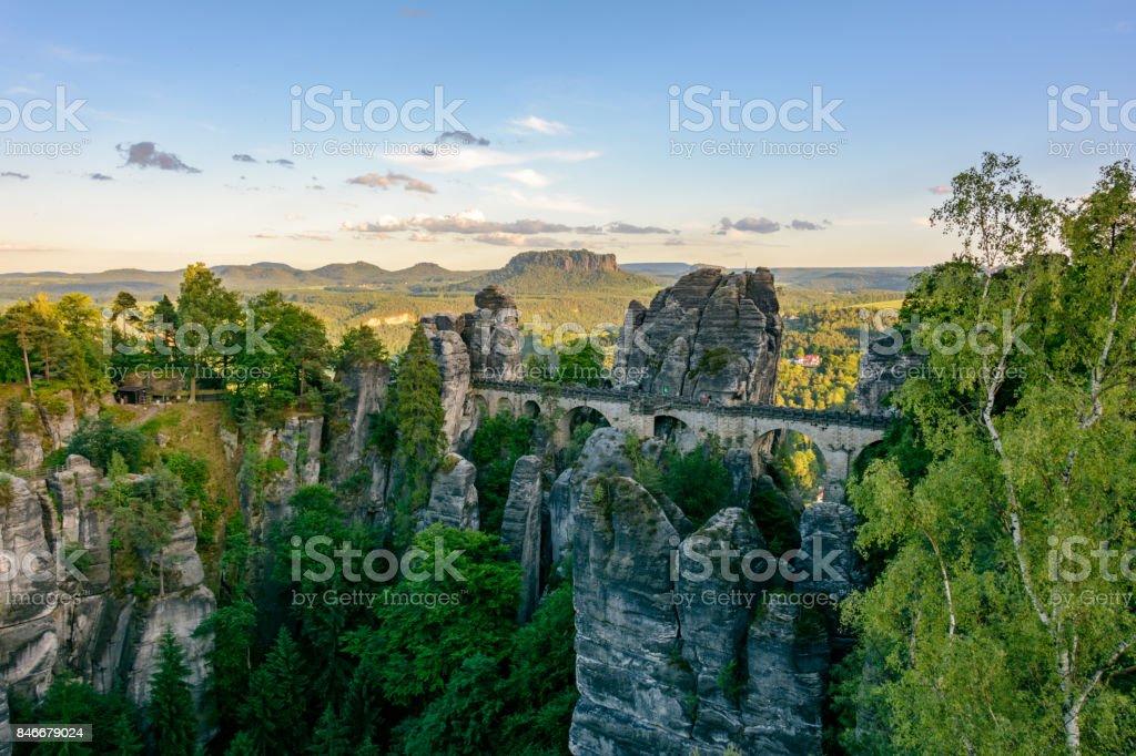 Germany, Saxony. Bastei Bridge in the National Park Saxon Switzerland stock photo