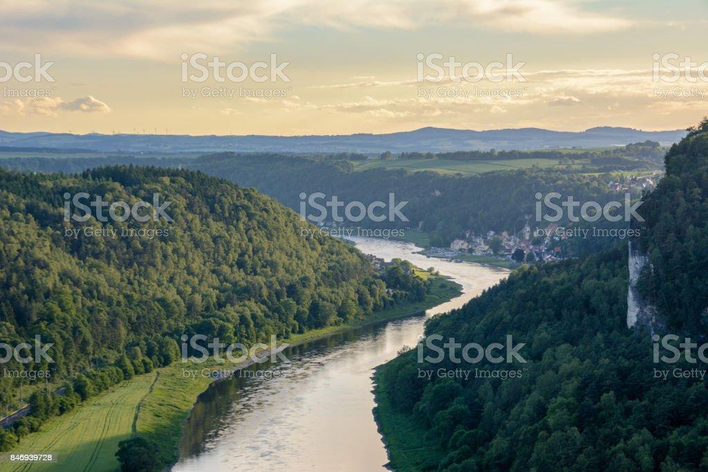 Germany, Saxony. Elbe river in national park Saxon Switzerland stock photo