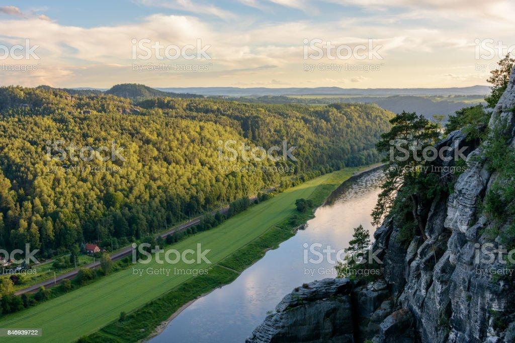 Germany, Saxony. Elbe river in Saxon Switzerland national park stock photo