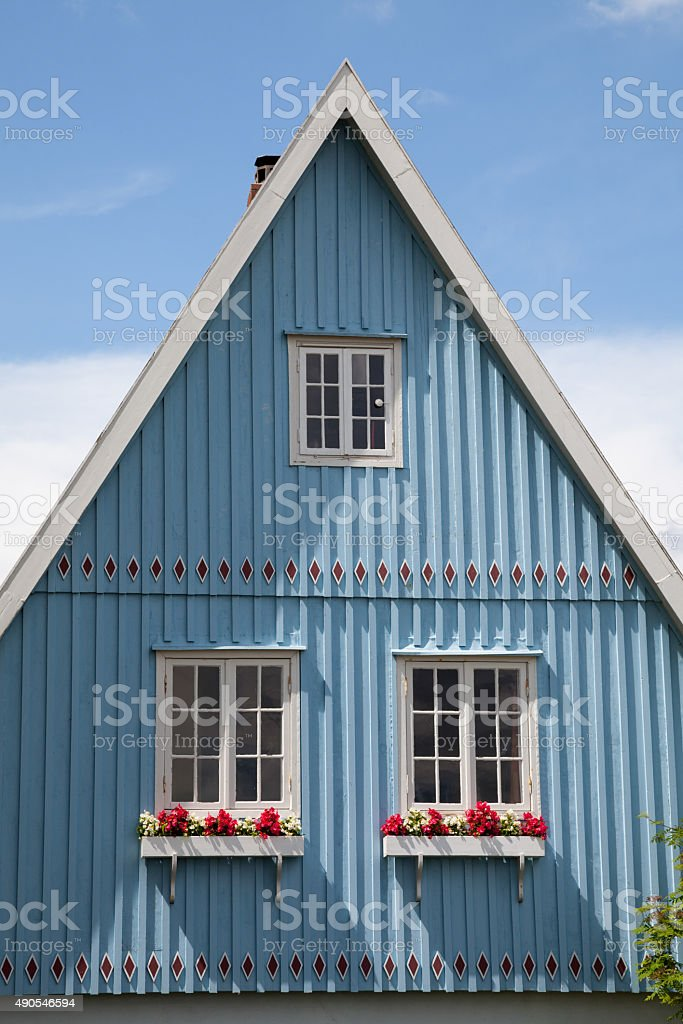 Germany, Schleswig-Holstein, House, blue facade, gable stock photo