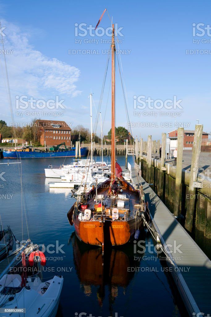 Germany: Ships in the small harbor of Wyk on the Frisian island of Foehr stock photo