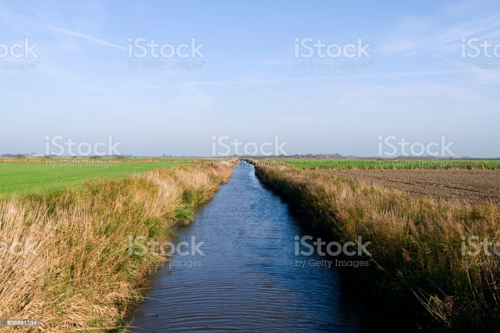 Germany: Small channel for the drainage of the marsh fields on the Frisian island of Foehr stock photo