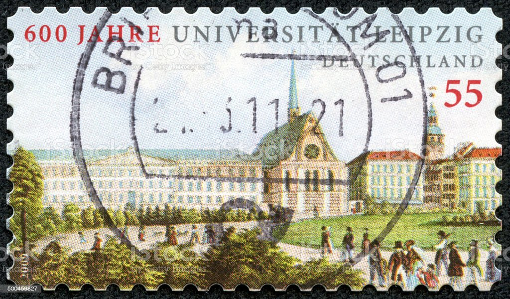 Germany stamp,Leipzig University 600th anniversary stock photo