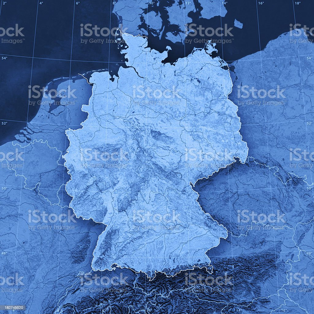 Germany Topographic Map royalty-free stock photo