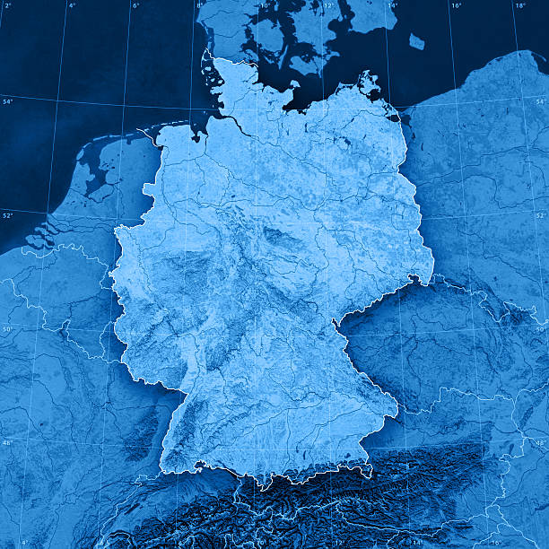 """Germany Topographic Map """"3D render and image composing: Topographic Map of Germany. Including national borders, rivers and accurate longitude/latitude lines. High resolution available! High quality relief structure!Relief texture and satellite images courtesy of NASA. Further data source courtesy of CIA World Data Bank II database.Note: This image is perfectly congruent to the image"""" topographic map stock pictures, royalty-free photos & images"""