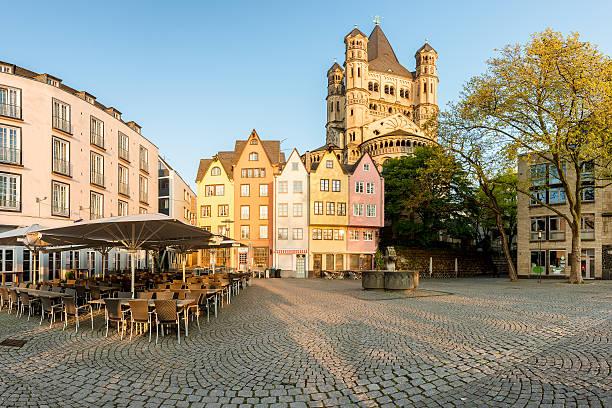 germany traditional colorful houses in cologne, germamy. - restaurant köln stock-fotos und bilder