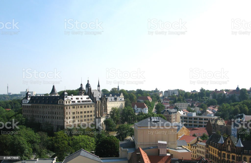 Germany: View over the former residential city of Altenburg to the east stock photo