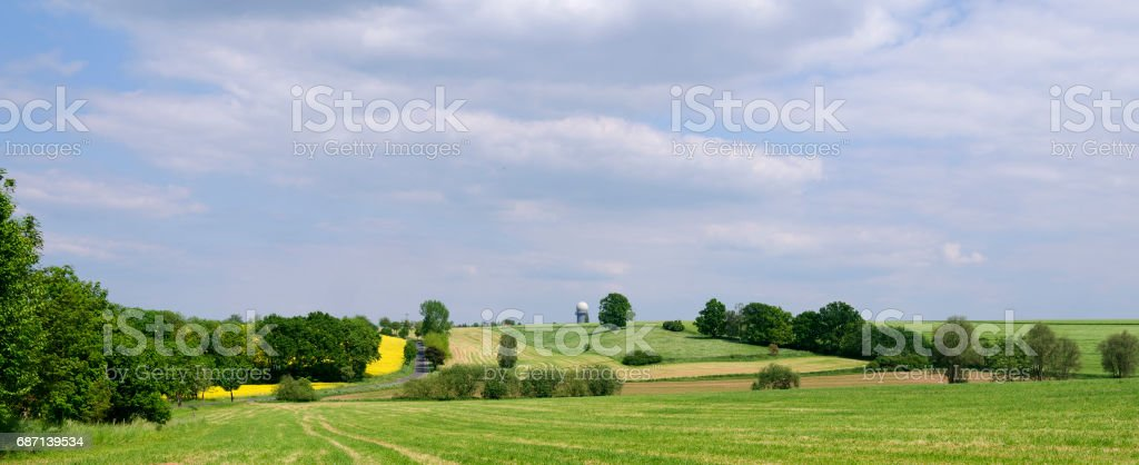 Germany: View over the hilly countryside in Eastern Thuringia stock photo