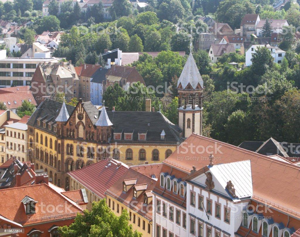 Germany: View over the historic Naschhausen quarter in Altenburg stock photo