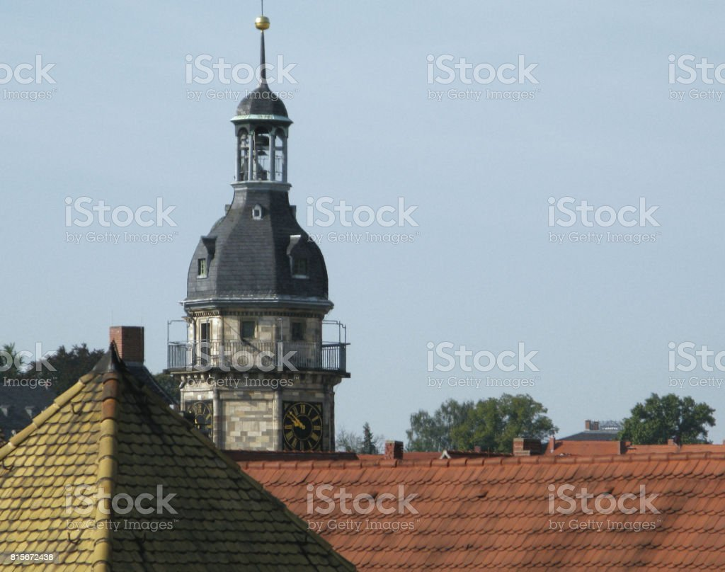 Germany: View over the roofs of the old town of Altenburg to the city hall tower stock photo