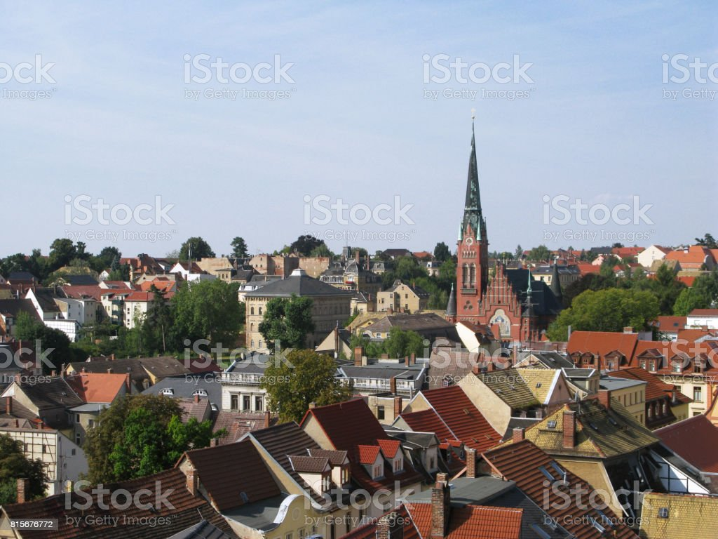 Germany: View over the western part of the old town of Altenburg stock photo