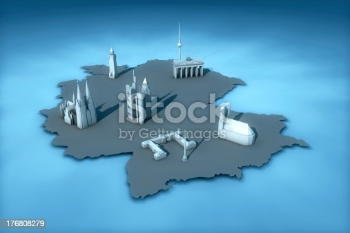 istock Germany (Map) with landmarks of the six largest cities 176808279
