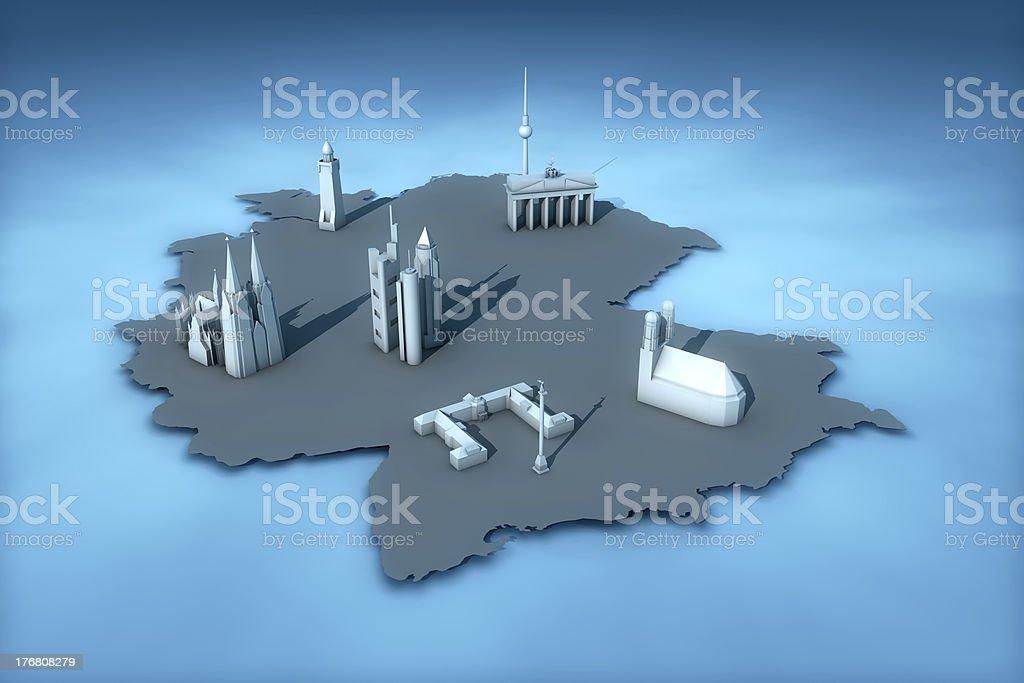 Deutschland (Karte) mit Wahrzeichen der sechs größten Städte – Foto