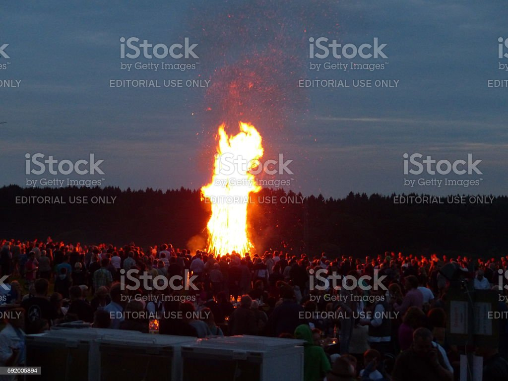 Germany-Bavaria. Customs and tradition. Johanis fire at Saint John's Eve stock photo