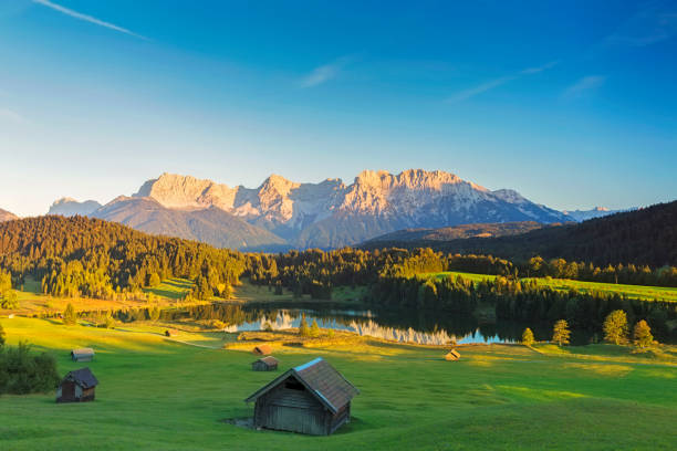 Geroldsee at sunset, Garmisch Patenkirchen, Alps Bavaria, Bavarian Alps, Europe, alpen Glow, European Alps bavarian alps stock pictures, royalty-free photos & images