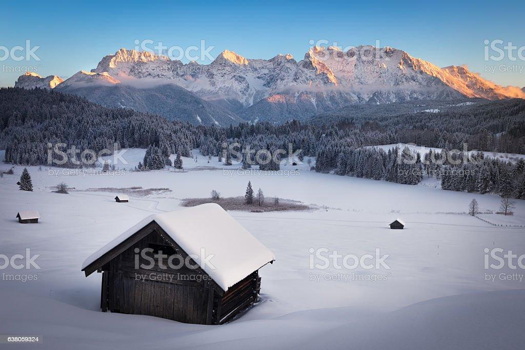 Geroldsee at wintertime, Bavarian Alps, Germany stock photo