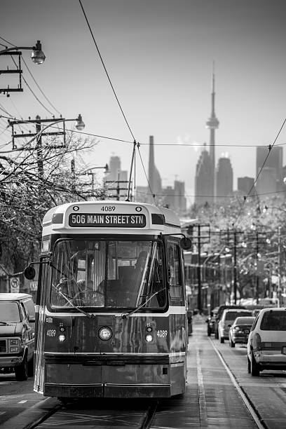 gerrard street after the ice storm - toronto streetcar stock photos and pictures
