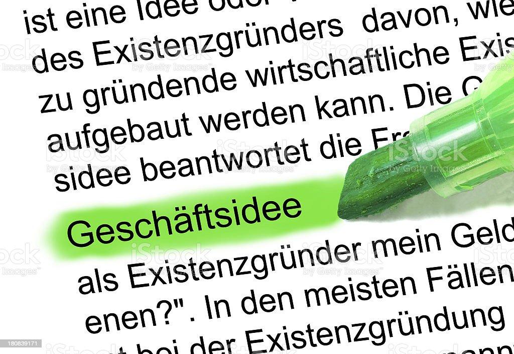 Geschäftsidee definition abstrakt Wort im Wörterbuch markiert stock photo