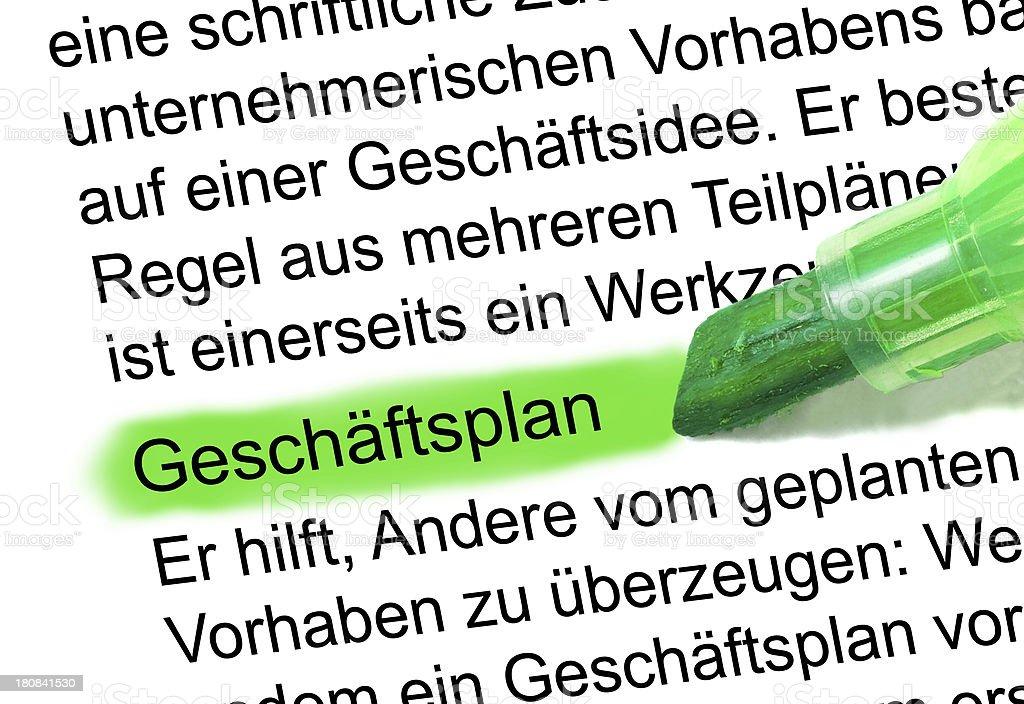 Geschäftsplan definition abstrakt im Wörterbuch markiert stock photo