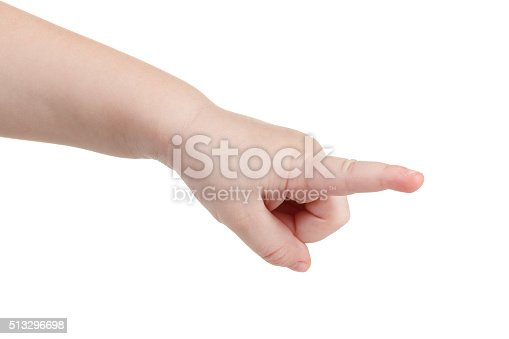Gesture, a lovely child's hand indicates the direction or making gestures on touch devices. Isolated on white background