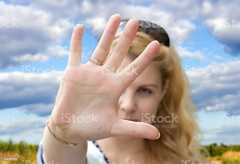 Gesture, hand, interdiction royalty-free stock photo
