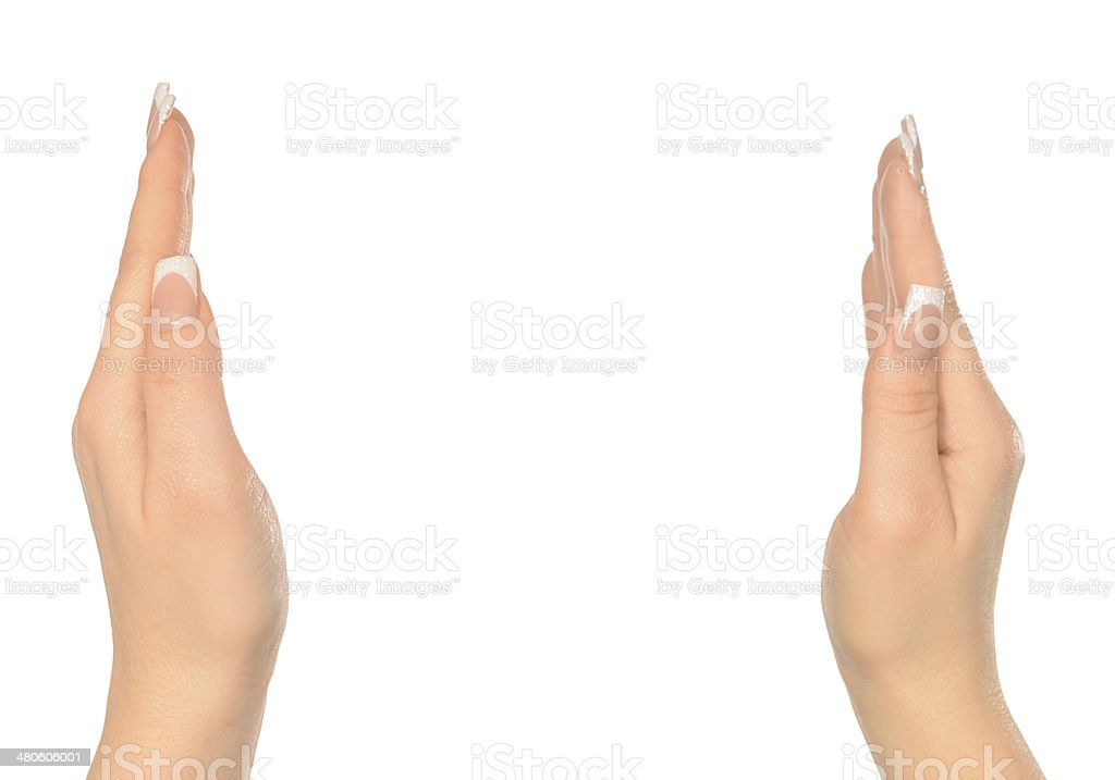 gesture like holding placard royalty-free stock photo