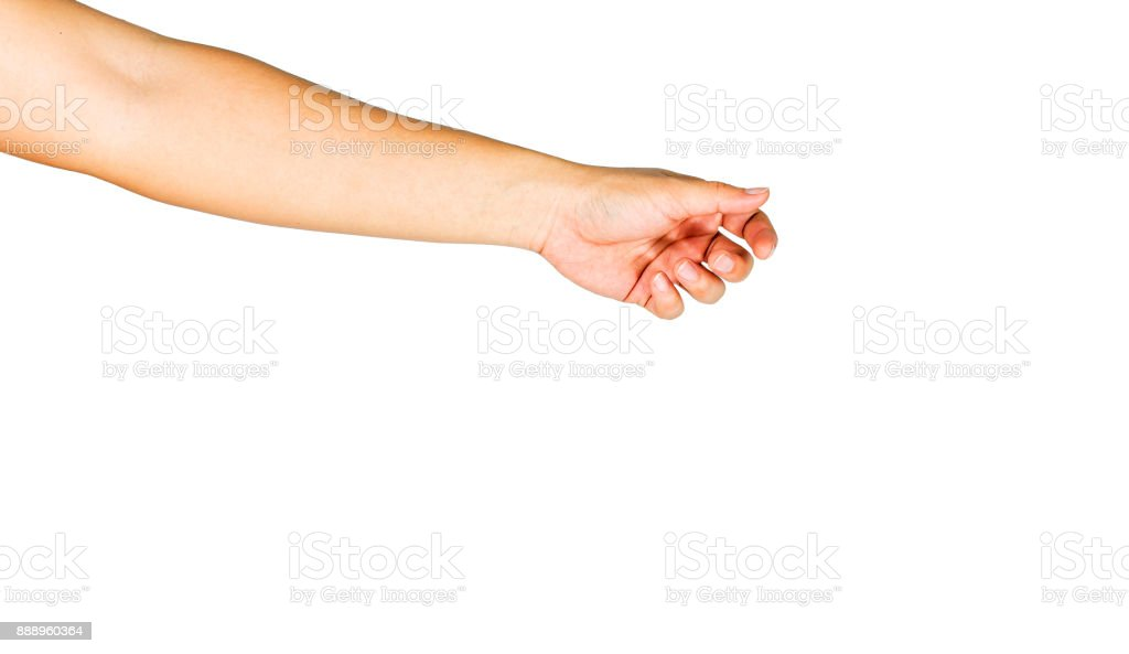 Gesture of reaching to grasp objects. Clipping path inside. stock photo