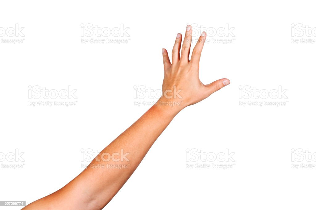 Gesture of reaching to grasp objects.Clipping path inside. stock photo