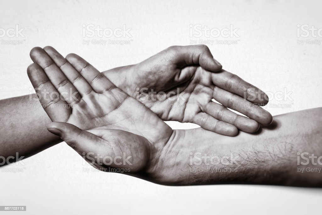 Gesture of trust, openness. stock photo