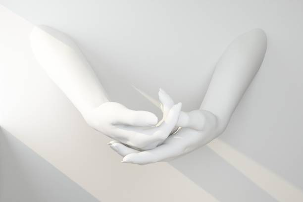 gesture with two white hands holding an invisible stock photo