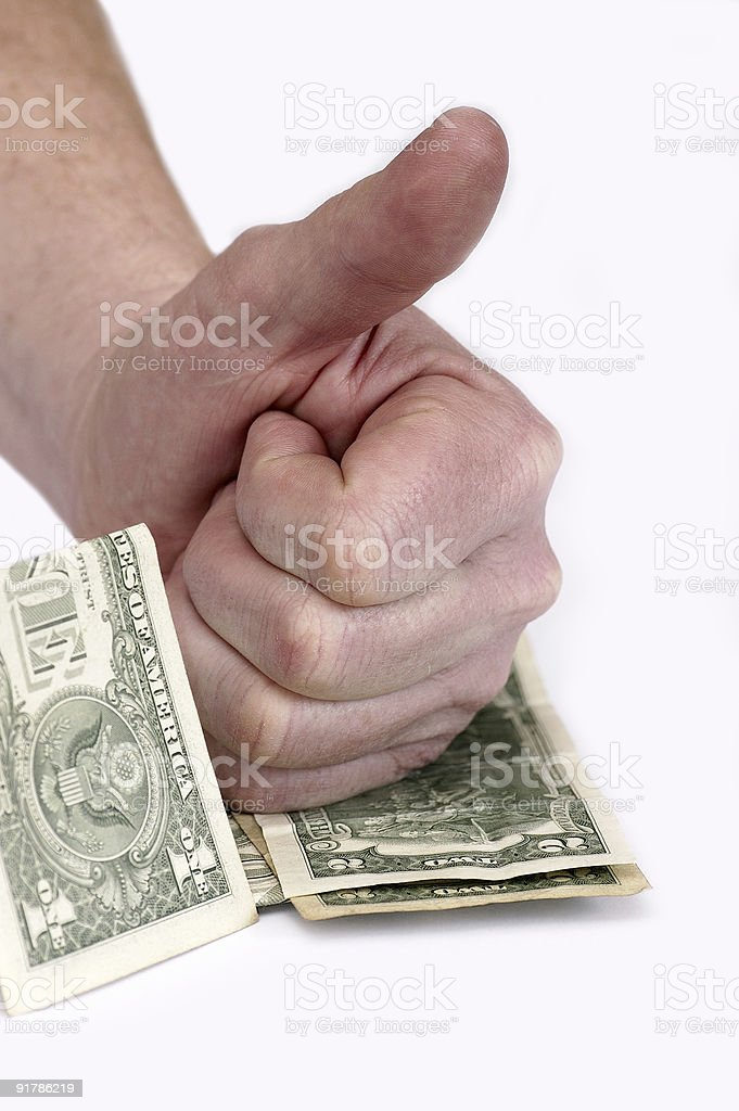 Gestures and the American money stock photo