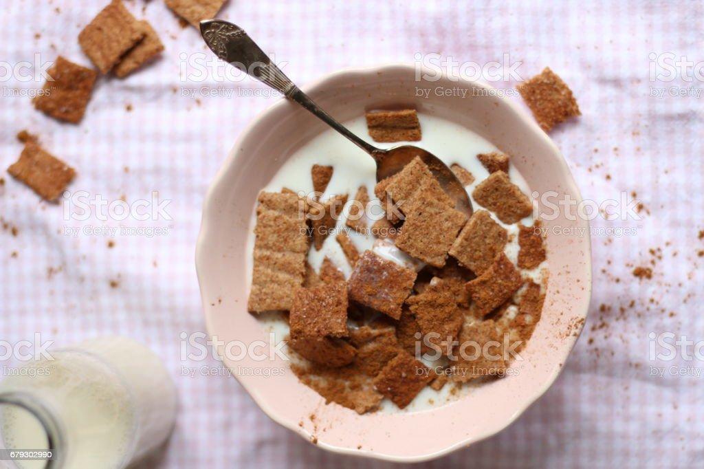 Gesunde Frühstücksflocken mit Zimt royalty-free stock photo