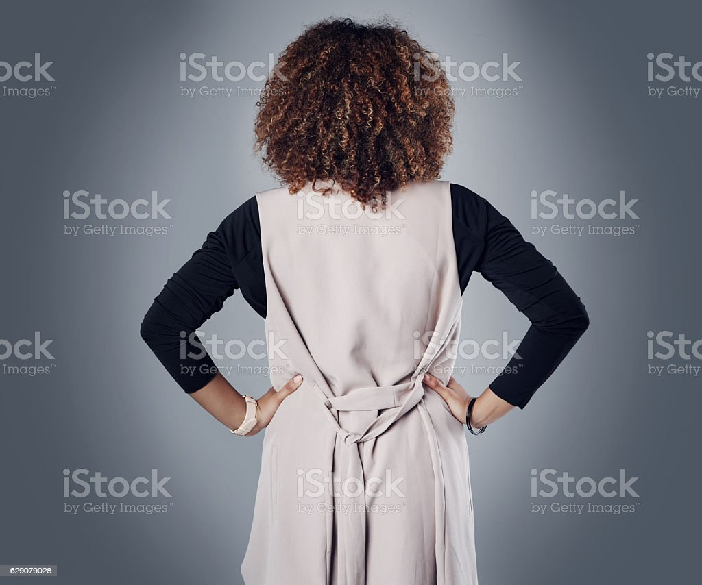 Get behind her or get left behind stock photo
