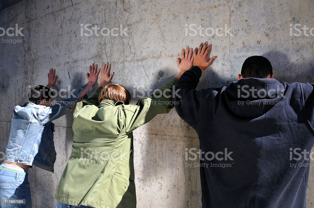 Get 'em Up Against the Wall stock photo