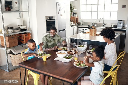 Shot of young family eating a meal together at home