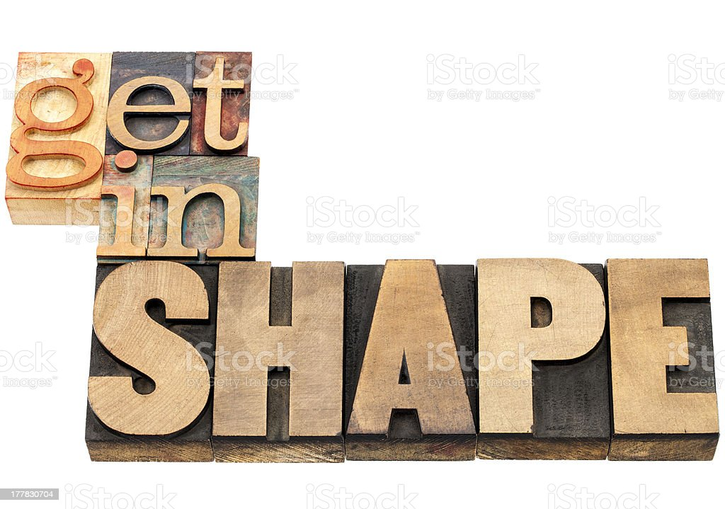 get in shape - wood type royalty-free stock photo