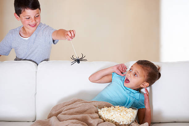 Get it away!!! Mischievous young boy scaring his little sister on Halloween with a rubber spider shock tactics stock pictures, royalty-free photos & images