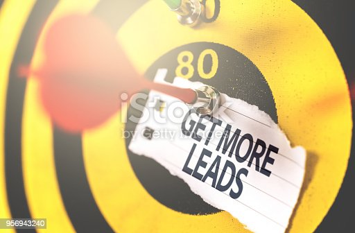 istock Get More Leads written on Arrow in the bullseye 956943240
