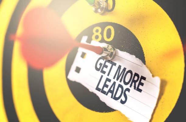 get more leads written on arrow in the bullseye - deaden stock pictures, royalty-free photos & images