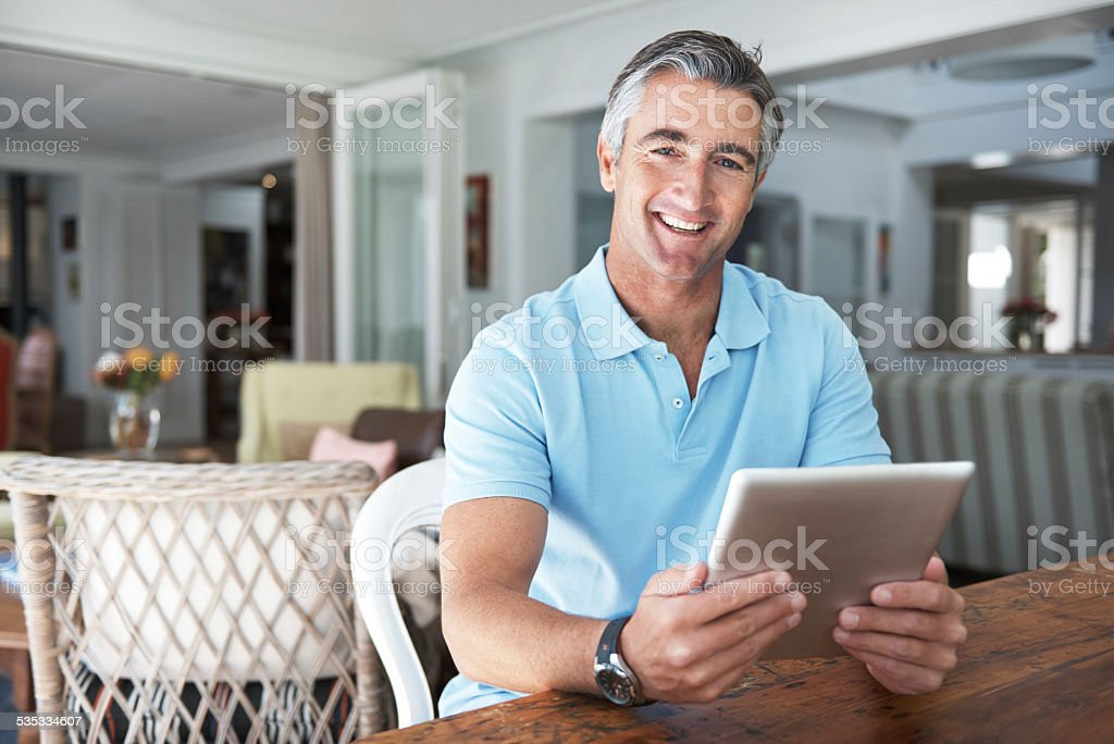 I get my news online stock photo