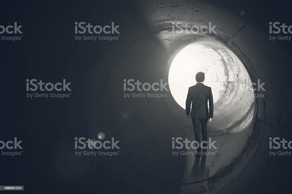 Get out of the tunnel stock photo