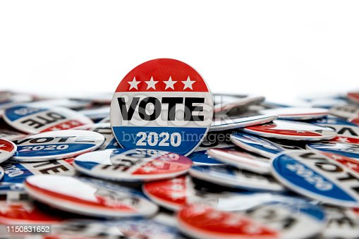 High quality stock studio photography of Vote 2020 presidential election buttons